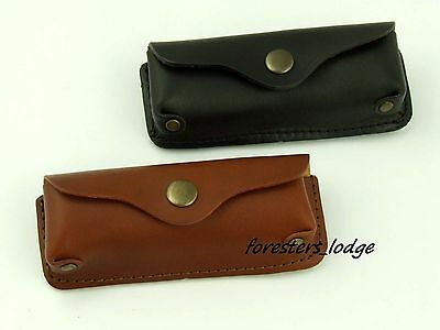 """Leather Folding Knife Sheath Case Tobacco Pouch Holder Belt Hand Made Hunting 5"""""""
