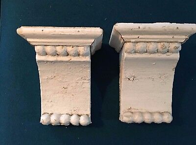 1890's Antique Pair(2) Wood Corbels Brackets Victorian Gingerbread White 688-17