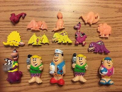 "VINTAGE The FLINTSTONES Hollyrock 4"" Pvc Figures FRED BARNEY DINO 1992 Lot Of 15"