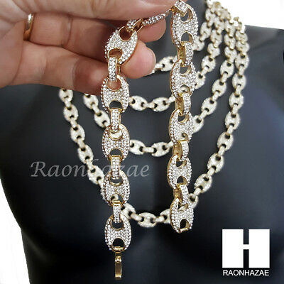 """14K Gold PT 12mm 8.5"""" - 30"""" Iced Out Puffed Mariner Gucci Link Choker Chain M3"""
