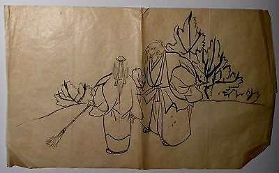 2415. Original 19th c Japanese Ink Drawing on Tissue Sumi-e Scholar & Servant