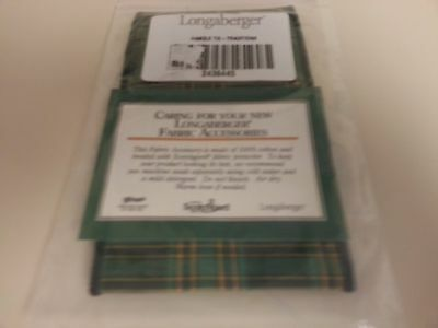 Longaberger Traditions Green Fabric Large Basket Handle Tie Only New