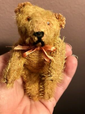 "Vintage Miniature 4"" ANTIQUE MOHAIR FULLY JOINTED BEAR-SO CUTE NICE NO RES"