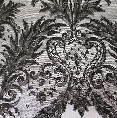 Antique 19thC Black CHANTILLY LACE Sleeve Ornate Handmade Bobbin Lace * MOURNING