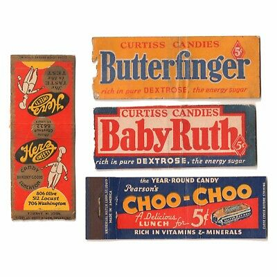 1930s Curtiss BABY RUTH & BUTTERFINGER HERZ Pearson's CHOO-CHOO Matchbook Covers