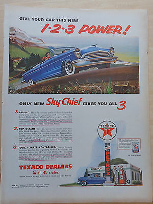 1955 magazine ad for Texaco - Give Your Car 1-2-3 Power, colorful ad