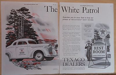 1938 two page magazine ad for Texaco - White Patrol inspects Texaco restrooms