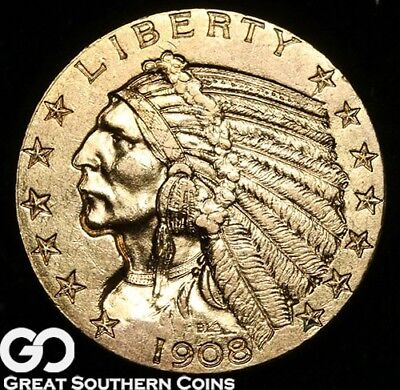 1908 Half Eagle, $5 Gold Indian, BU++ ** Free Shipping