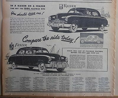 1947 newspaper ad for Kaiser - Frazier - Postwar features, Compare the ride