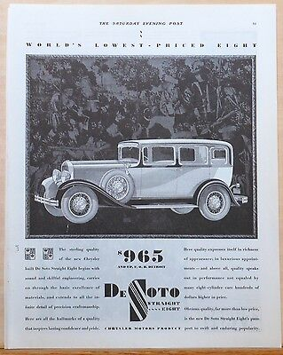 Vintage 1930 magazine ad for DeSoto Straight Eight - World's Lowest Priced Eight