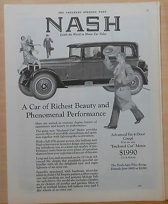 Vintage 1926 magazine ad for Nash - Advanced Six 4-door coupe, Richest beauty