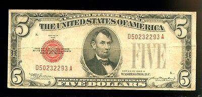 1928-B United States Note $5 -Red Seal