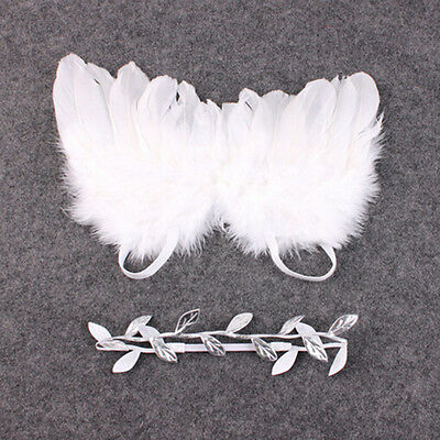Newborn Baby White Angel Wings Headband Costume Photo Photography Props OutfitWF