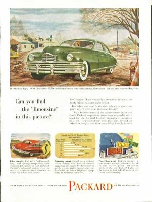 """Can you find the """"limousine"""" in this picture? Packard ad 1949"""