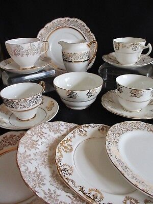 Vintage China gold & white mismatched tea cups saucers, plates lovely condition