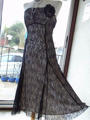 VINTAGE 1940's 50's CORSAGE GOTHIC LACE OVER NUDE SATIN CORSET DRESS 8 WEDDING