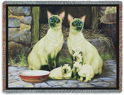 Throw Tapestry Afghan - Siamese Family 6273