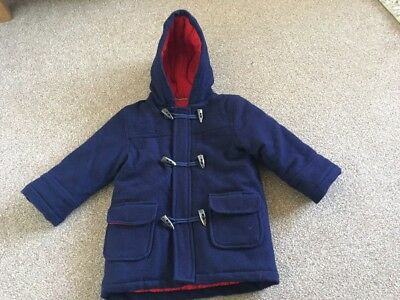 Jojo Maman Bebe Age 1-2 Years Boys Blue Duffle Coat With Quilted Lining Vgc