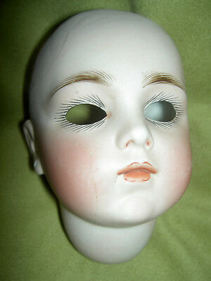 Antique bisque, closed mouth, pierced ears doll sockethead (only) needing repair