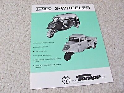 1980's TEMPO 3-WHEELER (INDIA) SALES BROCHURE