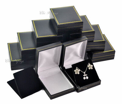 Lot Of 12 Pendant Boxes Black Leatherette Gift Boxes Earring Jewelry Boxes Deal