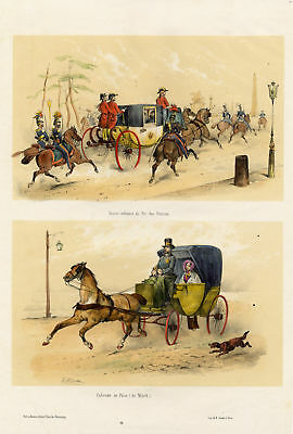 Victor Adam Horse Cabriolet My lord Horseriding Lithography 19th century