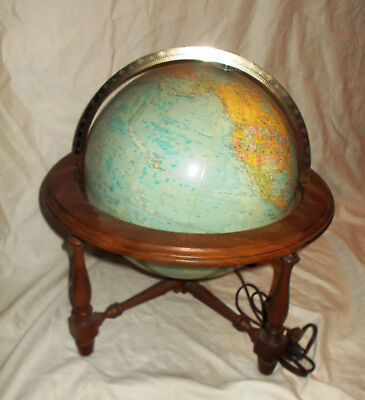 Vintage Lighted Replogle Comprehensive Globe w Wood Stand Light UP