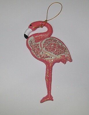 Pink Flamingo Resin Glitter Crackled Glass Christmas Tree Ornament 6""