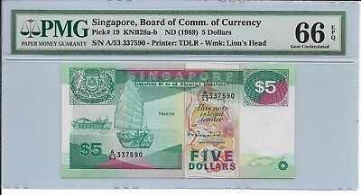 Singapore, Board of Comm. of Currency - $5, nd (1989). PMG 66EPQ.
