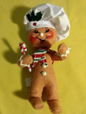 """Annalee Christmas Gingerbread Man  6"""" tall ornament? 2005 Chef Hat Candy Cane"""