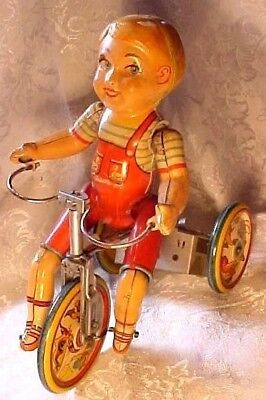 Vintage Old Antique Metal Tin Litho Kiddy Cyclist Wind Up Tricycle Unique Art