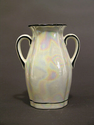"""Early to Mid-20th C Art Deco Style Lusterware Czech Vase, Two Handles, 5 1/4"""""""