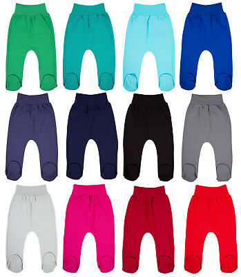 Baby Girls Boys Leggings Trousers With Feet Size 0-18 Months 100% Cotton