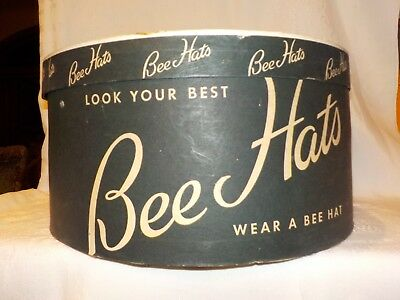 "Vintage,antique ""bee Hats"" Hat Box,with Form Insert,oval,black & Tan,advertising"
