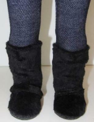 BLACK Fur Slouch BOOTS for American Girl Doll 18 Inch Doll Shoes Clothes