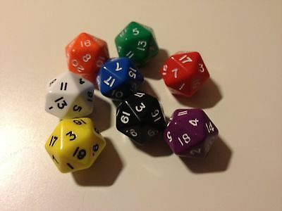 5 pack of D20 (20 sided) Poly Dice Roleplay - Games - Numeracy Maths D082