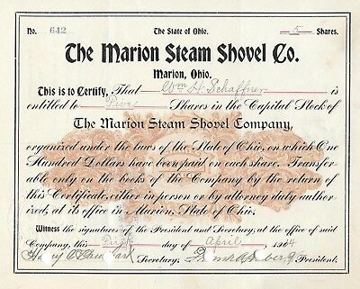 The Marion Steam Shovel Co. 5 shares Wm H Schaffner Stock Certificate 1914