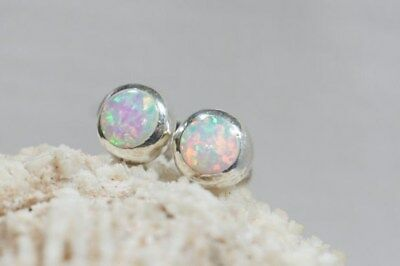 Round White Fire Opal 925 Sterling silver stud post earrings 6mm Christmas MINT