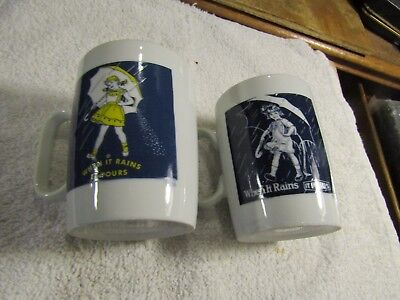 Morton's Salt Coffee Mugs When It Rains It Pours 1921 1956 Made in Japan 1960s