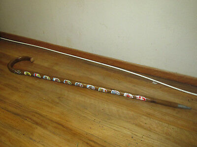 "Rare Antique German 36"" Wood Walking Stick Cane Pre WWII 12 METAL BADGES Genuine"