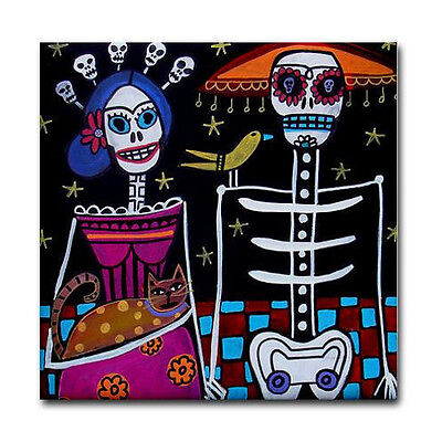 4x4 MEXICAN TILE Day of The Dead Mexican Folk Art Ceramic Tile Frida Kahlo