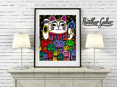 Lucky Cat Neko Fortune Cat Folk Art Poster Print 11x14 Heather Galler Signed