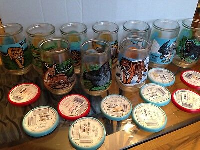 Lot 10 Endangered Animals Welch's Jelly Glasses & Tops