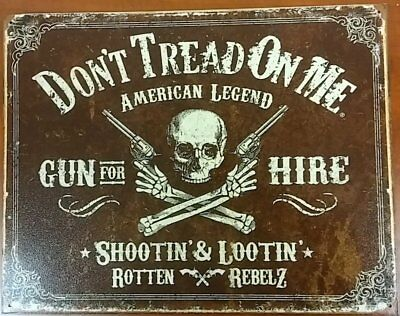 Gadsden Don't Tread on Me American Legend Gun For Hire 12.5x16 Metal Tin Sign