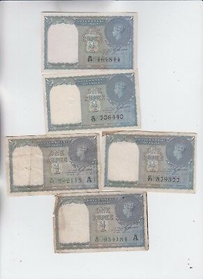 India Paper Money 5 notes low grade to ef+