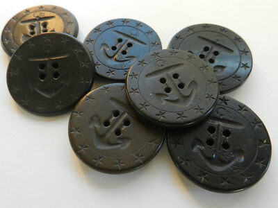 Lot of 7 Large Antique Vintage Hard Rubber Navy Pea Coat Anchor Buttons