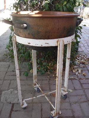 Antique Copper Kettle Round Bottom 21 in Chocolate Candy Making w/ Rolling Stand
