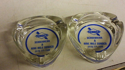Lot of (2) Vintage Sunoco Glass cigarette ashtrays new old stock free shipping.
