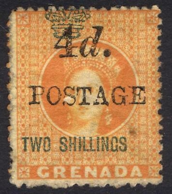 Grenada 1888 4d on 2s Orange Rev 4 mm P14.5 SG 41 Scott 32 LMM/MLH Cat £48($63)