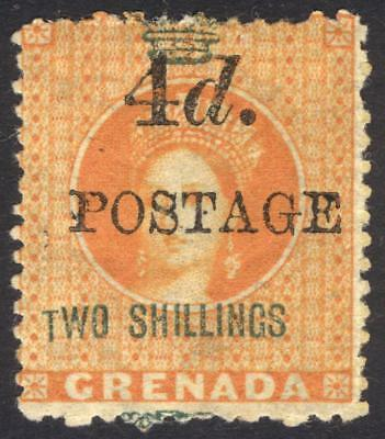Grenada 1888 4d on 2s Orge DROPPED T in TWO SG 41v Scott 32v LMM/MLH Cat £-($-)